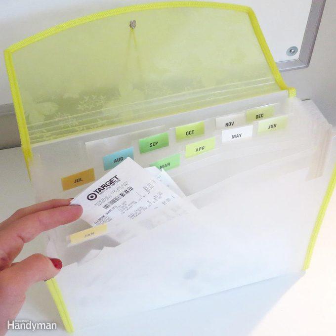 Accordion folder receipts