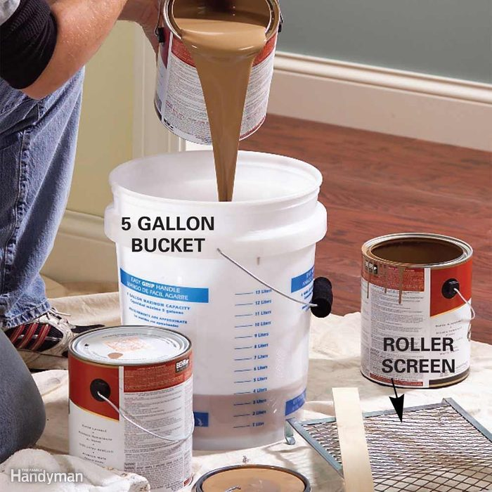 Mix Several Cans of Paint in a Large Bucket for Consistent Color