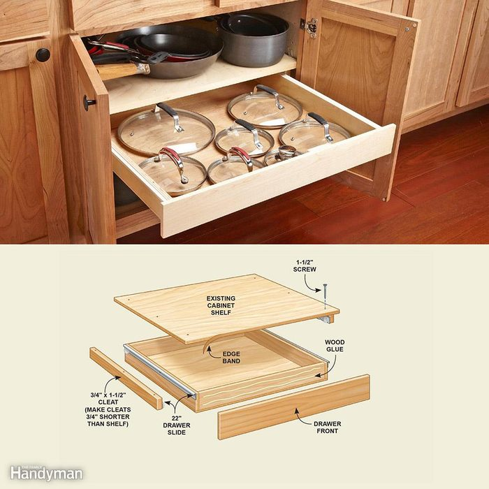 Cabinet Drawer Organizer: Rollout Drawer for Lids