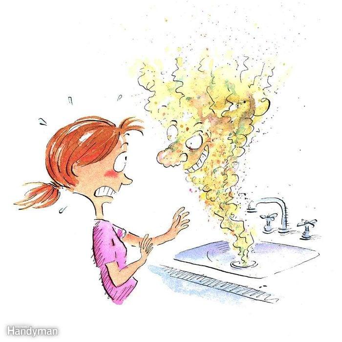 Chlorinate a Stinky Drain