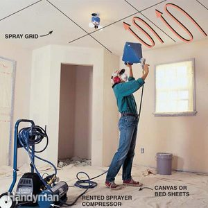How to Texture a Ceiling and Walls: Apply Knockdown