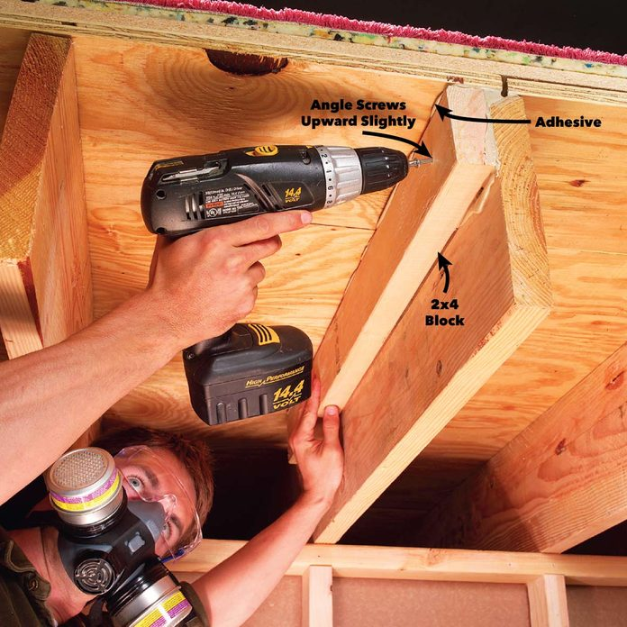 Add a 2x4 to the floor joist