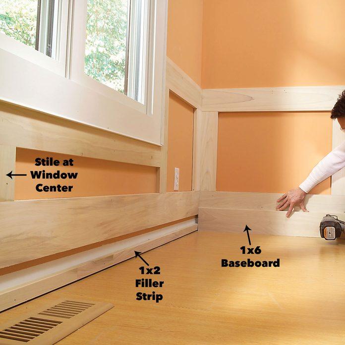 Nail the baseboard wainscoting