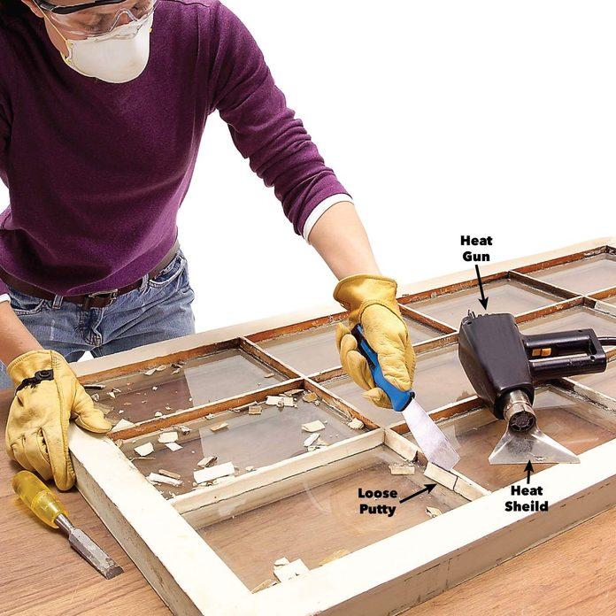 remove window glaze putty