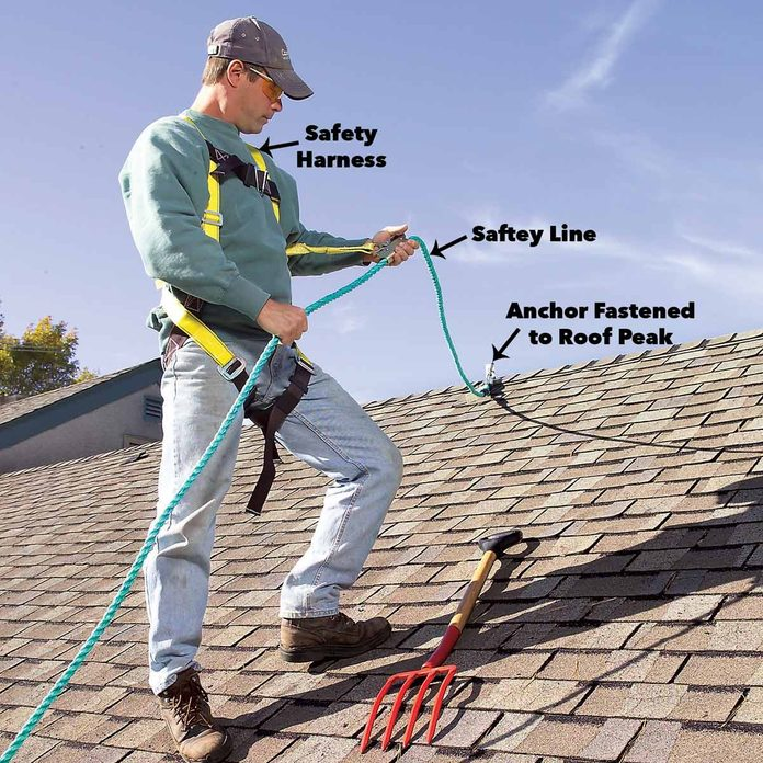 safety harness remove roof shingles