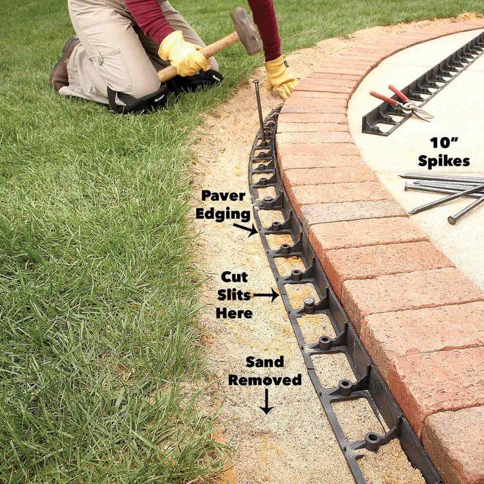 nail the edging brick pavers