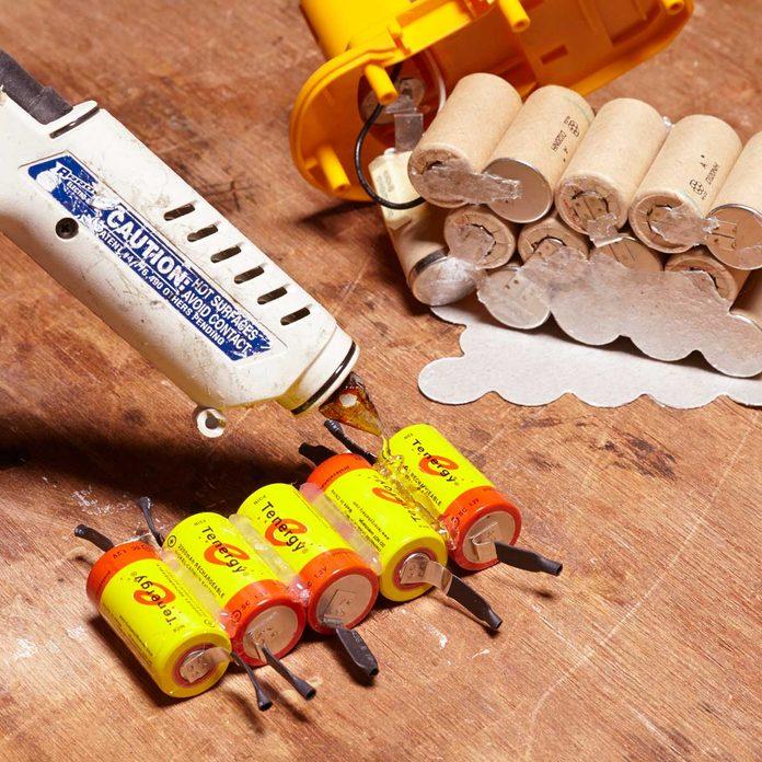 rebuild cordless tool battery hot glue
