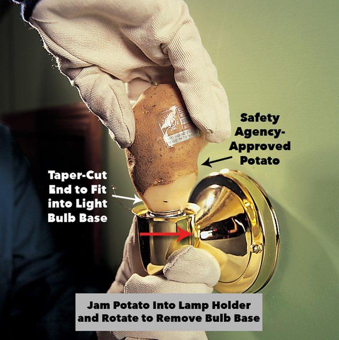 grab broken lightbulb piece with a potato