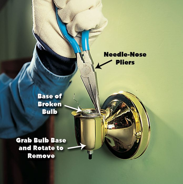 grab the broken lightbulb base with needle nose pliers