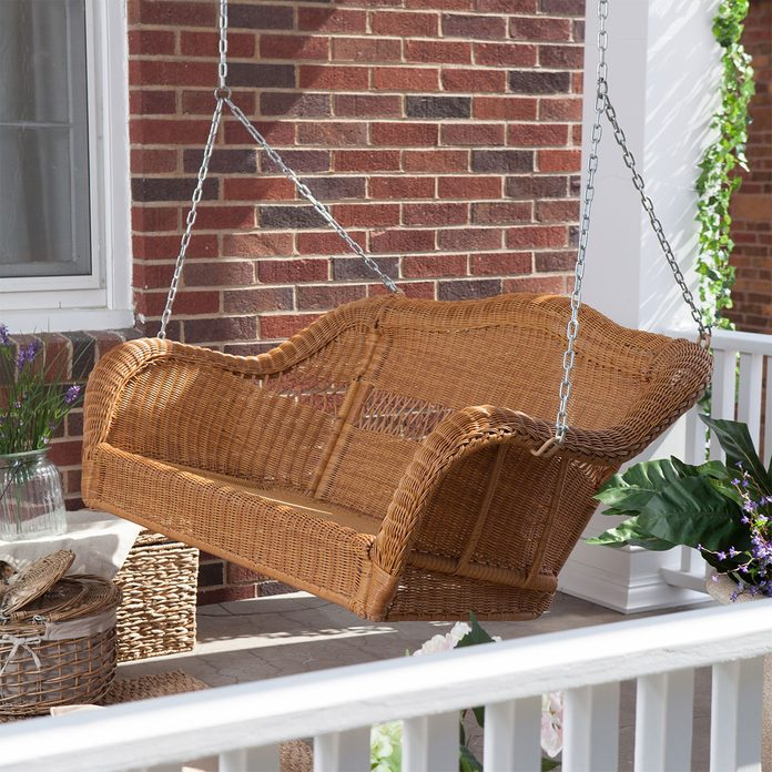 wicker porch swing