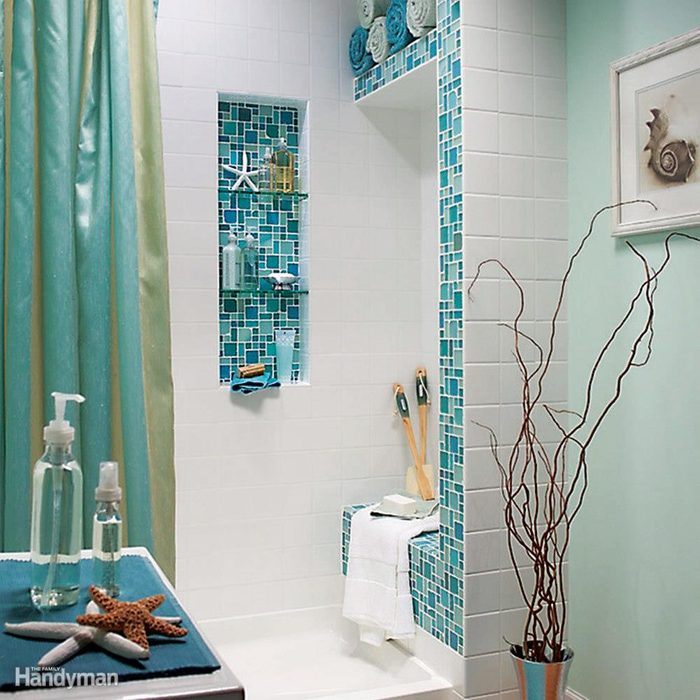 Space-saving custom tile shower