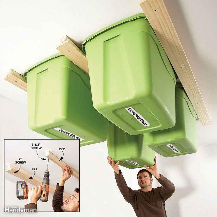Garage ceiling track storage