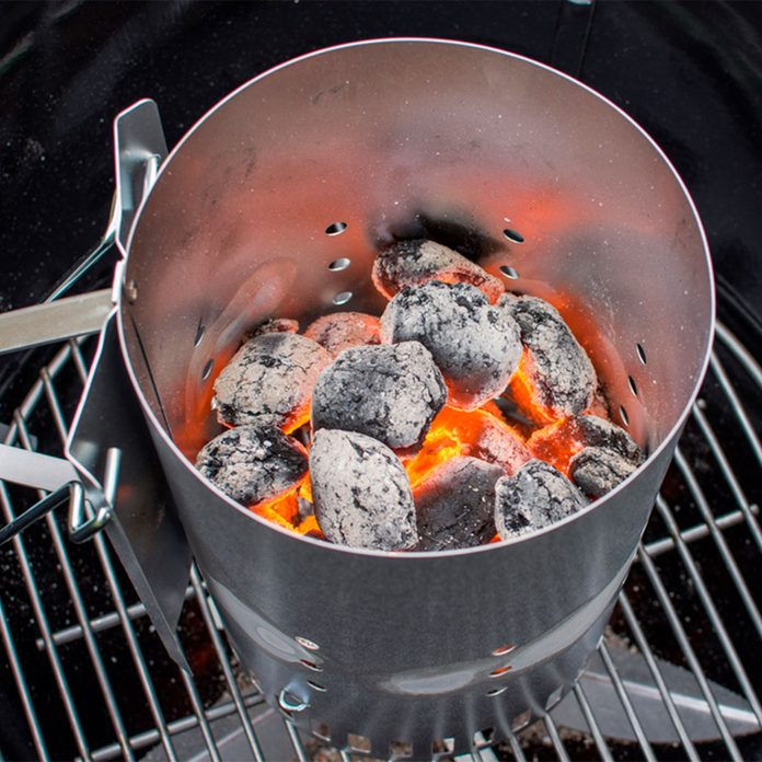 chimney starter with hot coals