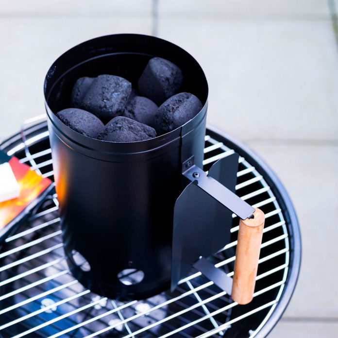 charcoal chimney with black charcoal