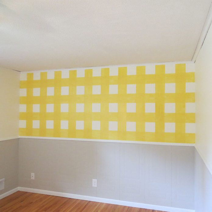 paint vertical lines on gingham wall