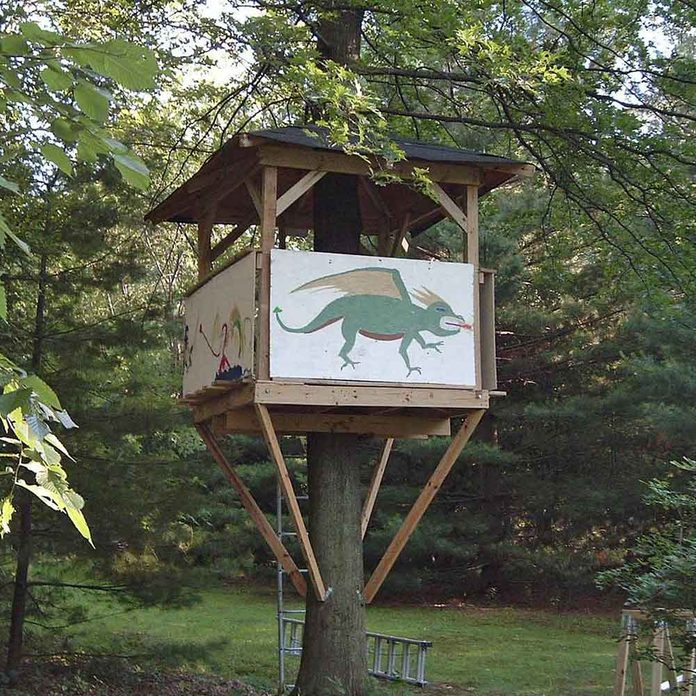 modest treehouse with dragon painted on the side
