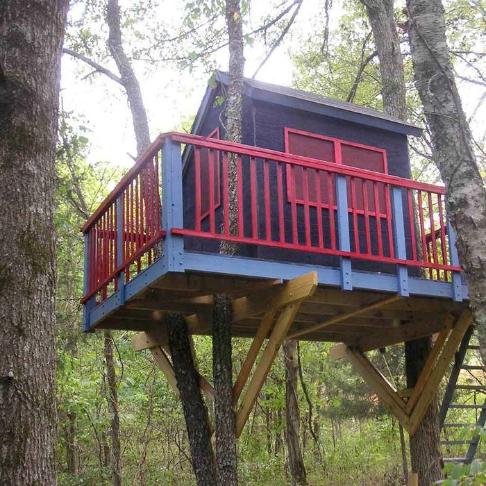 DIY Treehouse Building Tip 5: Build sections on the ground and hoist them into position