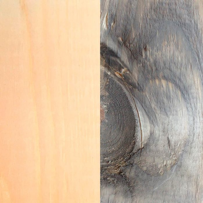 Before and after: pine and iron vinegar