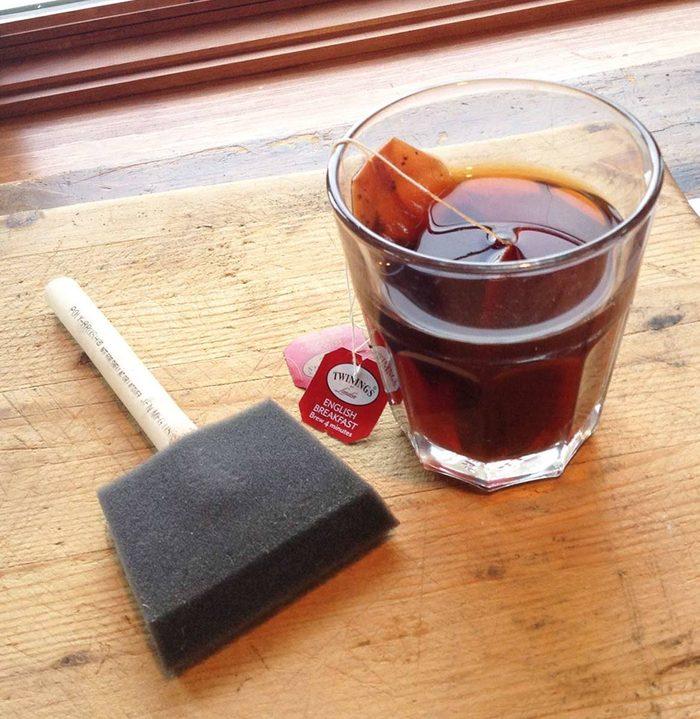 Use tea plus Iron vinegar on pine