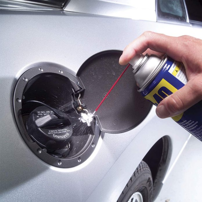 lubricate gas tank lid wd 40 uses on cars