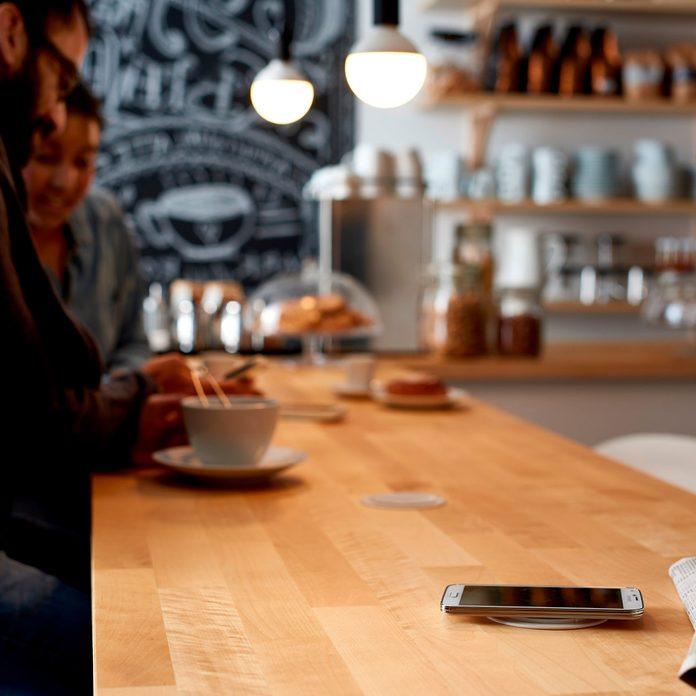 IKEA Jyssen wireless charger in tabletop