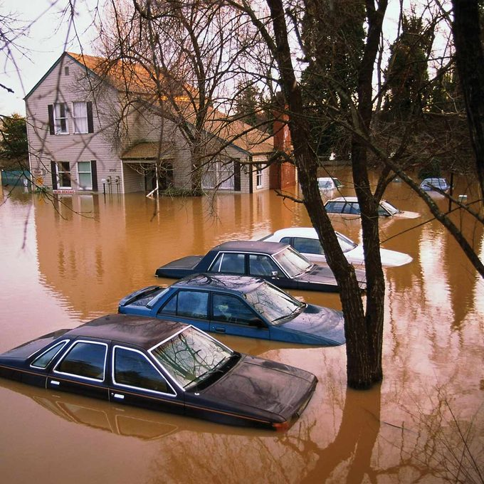 house home cars in flooded water