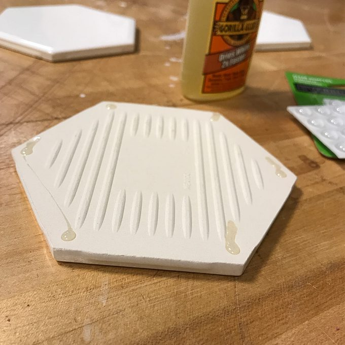 glue bumpers to tile for coasters