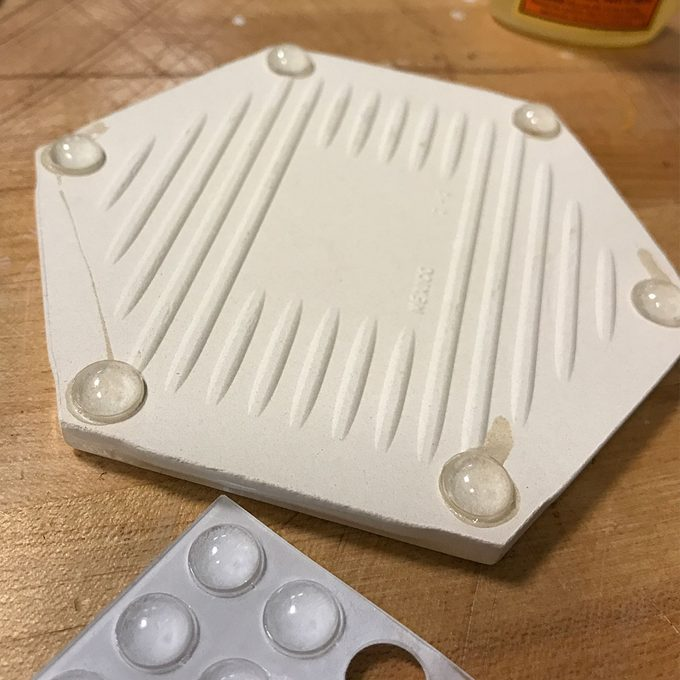 glue bumpers to tiles for coasters
