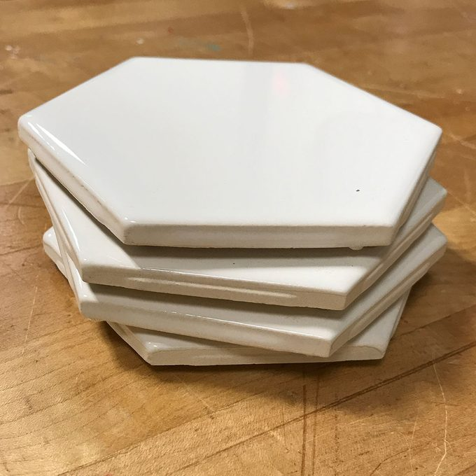 stack of tile coasters
