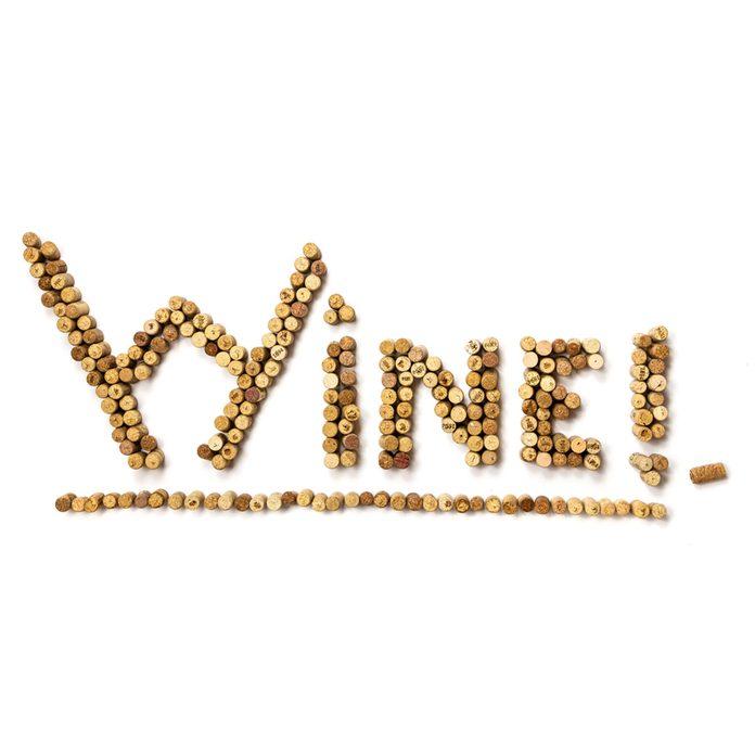 wine cork sign at home bar