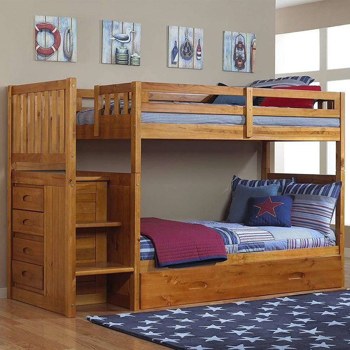 Mission-Style Twin-Over-Twin with Trundle bunk bed