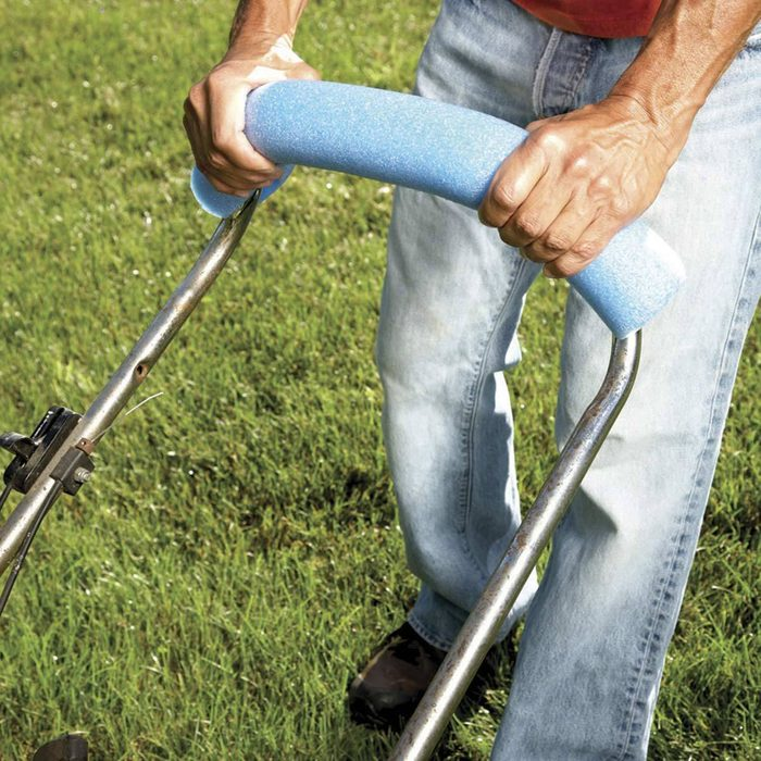 More Comfortable Mowing pool noodle lawn mower