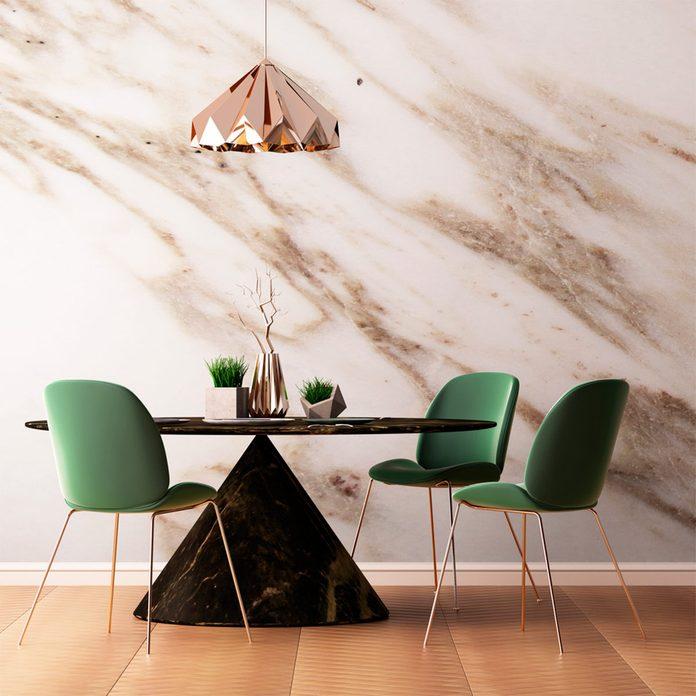white marble kitchen wall