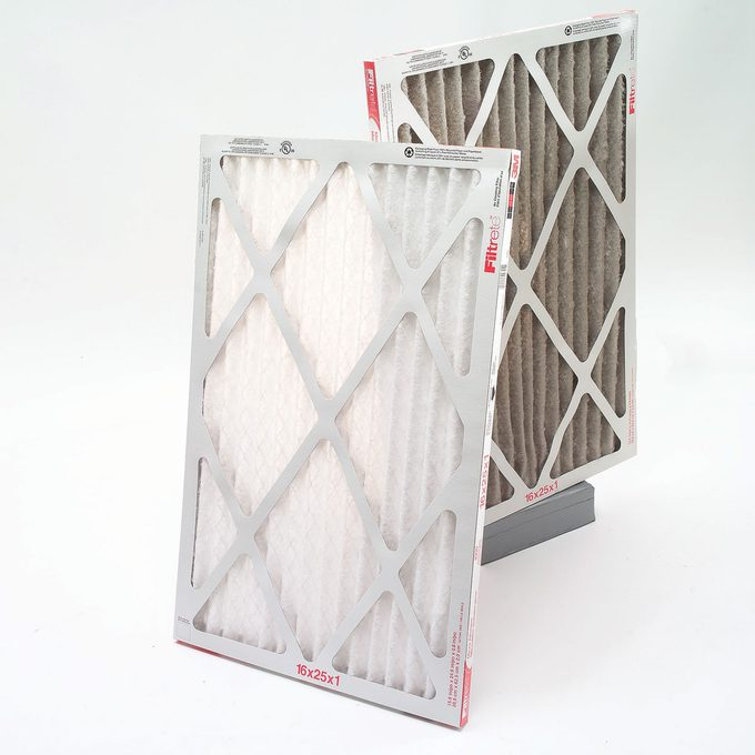 Clean and dirty furnace filters, changing furnace filter
