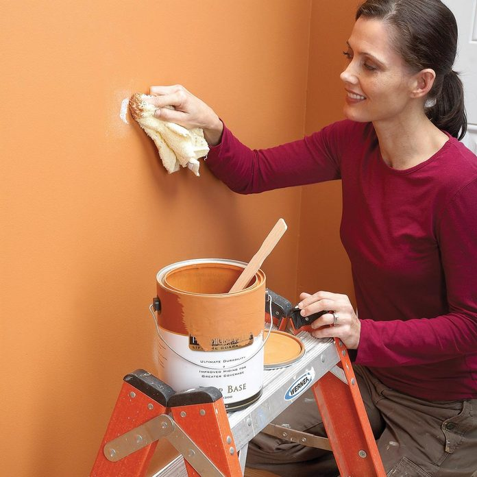 touch up paint with a wash cloth