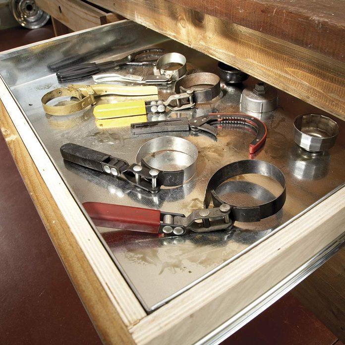 Sheet metal drawer liners