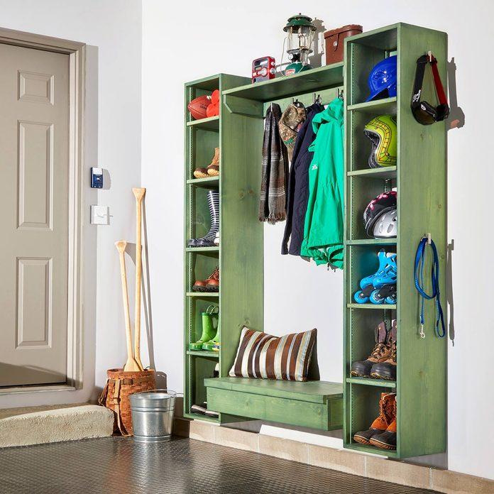 green garage storage organizer garage mudroom ideas