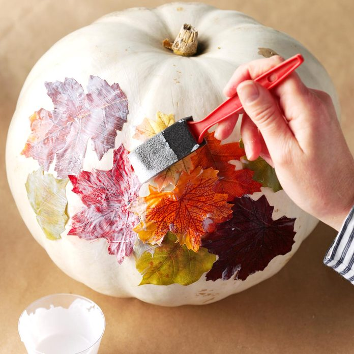 decopage leaf on pumpkin