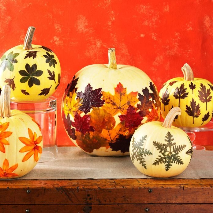 Fall leaves on pumpkin decorating