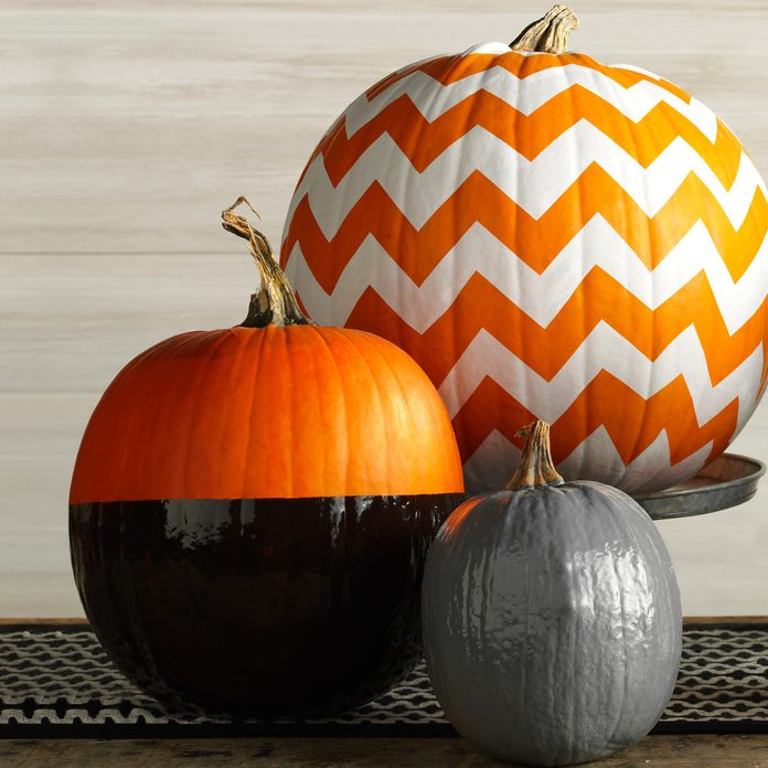 chevron zigzag spray paint pumpkins