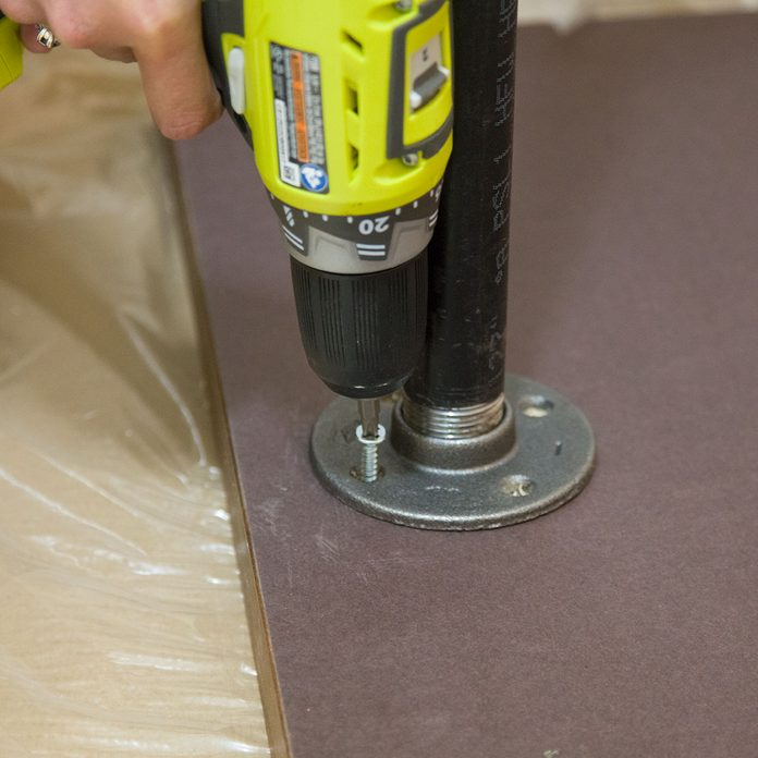 pipe desk screw countertop to leg assembly