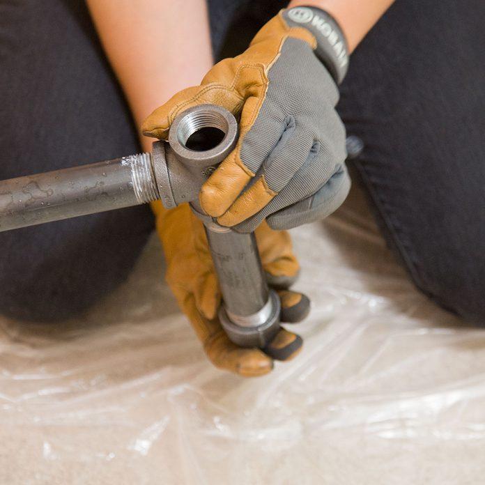 pipe desk leg assembly