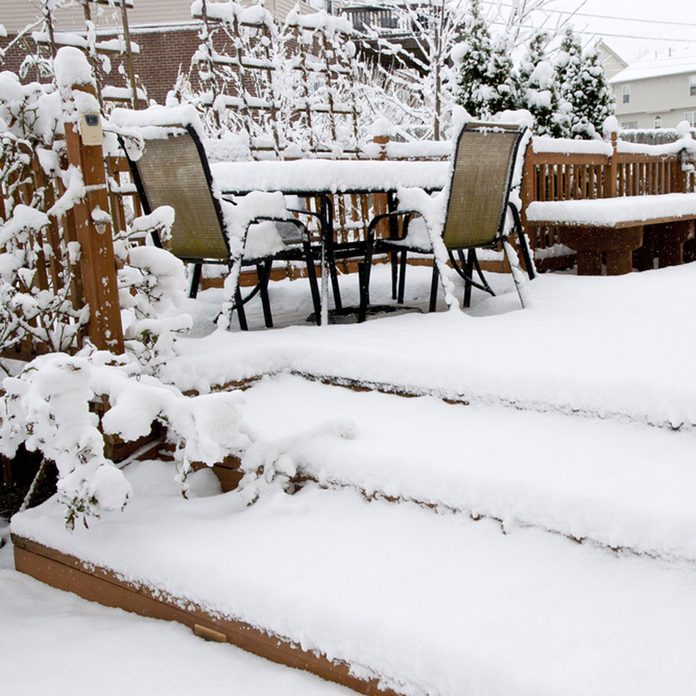 Snowy outdoor furniture