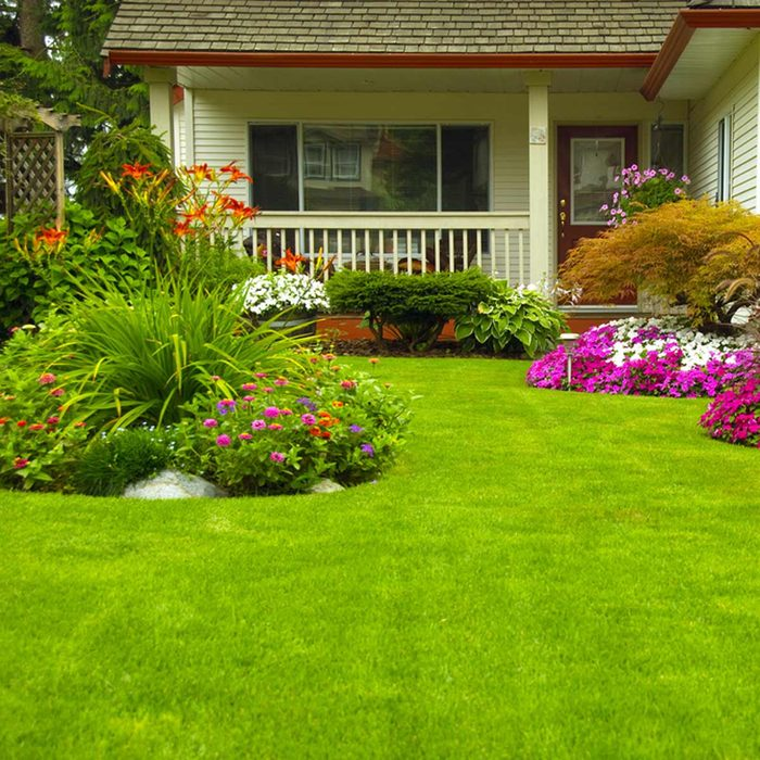 well manicured front lawn flowers landscape landscaping green grass porch