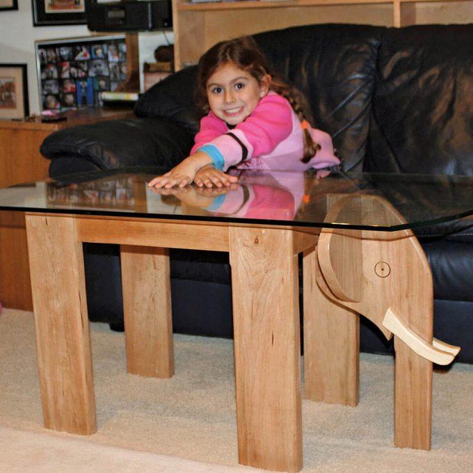 Hand built elephant table