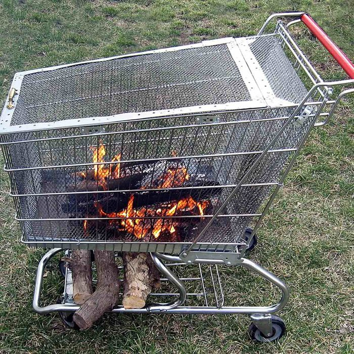 Cool Fire Pit Ideas: Grocery Cart
