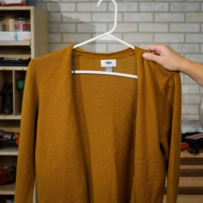 rubber band hanger with sweater