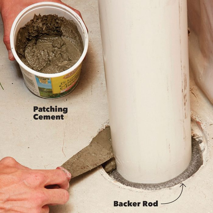 Seal around the pipe with patching cement