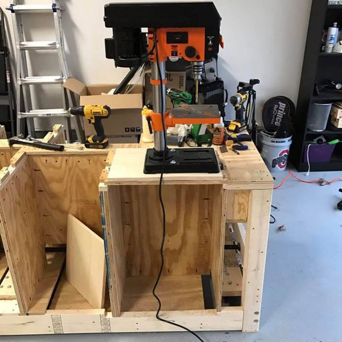 drill press flipped up to use
