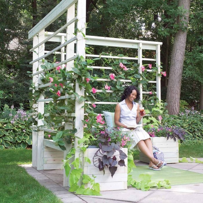 Arbor with Built-In Benches and Planters